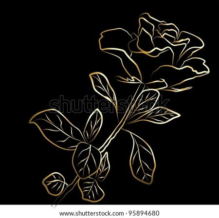 golden rose - freehand on a black background - stock photo