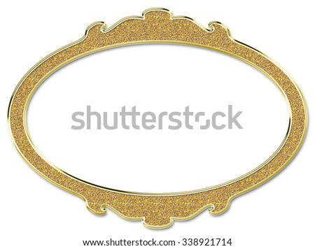Golden round frame isolated on white background - stock photo