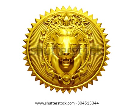 golden, round, ornamental Emblem or sign, with Lion in the center - stock photo