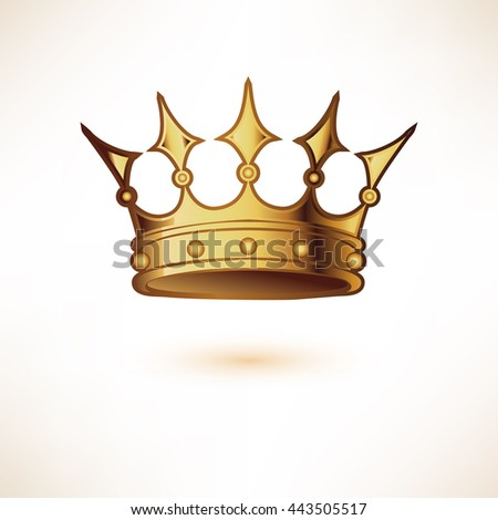 Golden Royal Crown isolated on white.