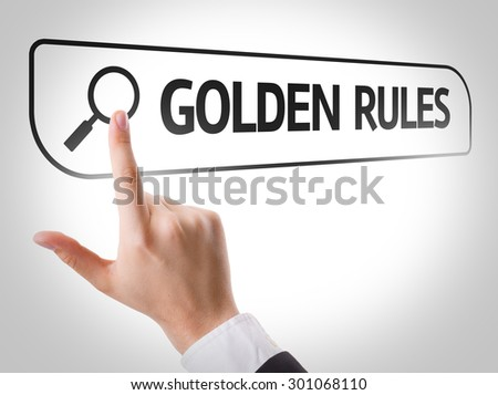 Golden Rules written in search bar on virtual screen - stock photo