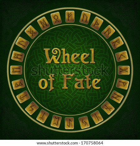 runes. The wheel of fate on a green leather background. Ethnic Celtic ...