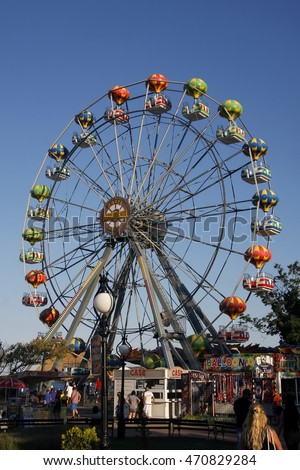 Golden Sands, Bulgaria 6 JULY, 2016: Panorama Wheel in Golden Sands ( Zlatni pyasatsi ), Bulgaria. Golden Sands is a major seaside resort town on the northern Bulgarian Black Sea Coast.
