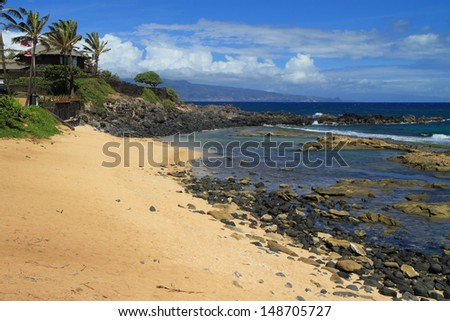 Golden sandy beach at low tide