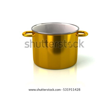 Golden saucepan icon 3d rendering on white background