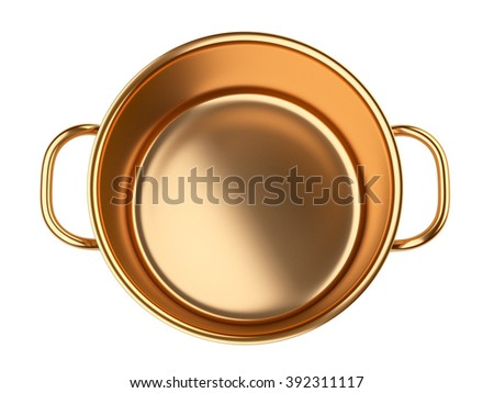 Golden saucepan.. Isolated over white background 3d image.