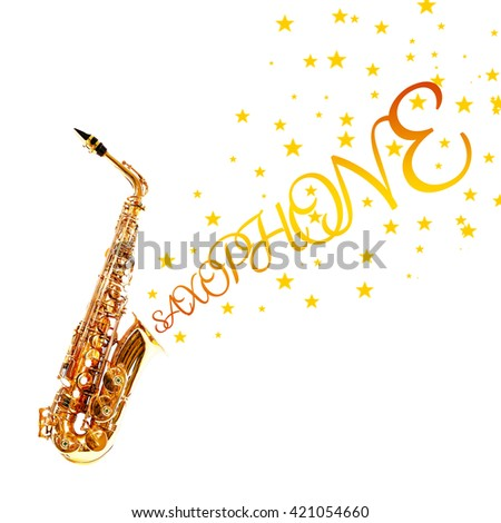 Golden saxophone with stars coming out from it isolated on white