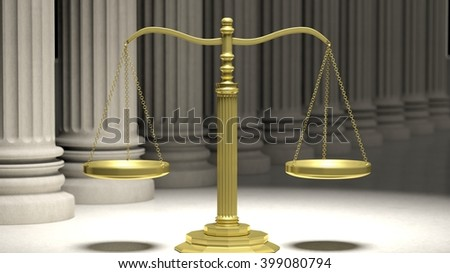 Golden scale of justice with ancient pillars in background. 3d rendering