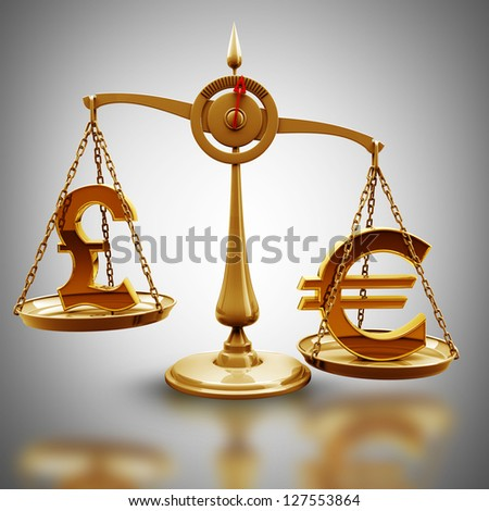 Golden Scale with symbols of currencies Euro vs British pound  High resolution 3d render - stock photo