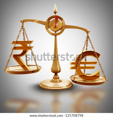 Golden scale with symbols of currencies Euro vs Indian rupee High resolution 3d render - stock photo
