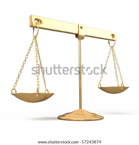 golden scales and a sword on a white background - stock photo