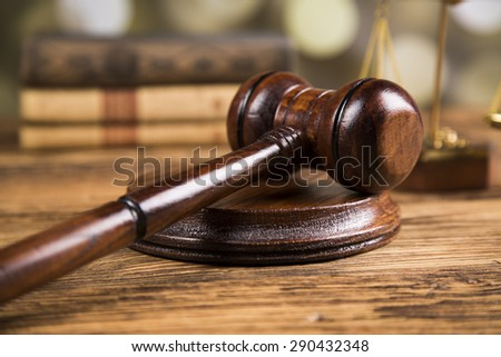 Golden scales of justice, books, Statue of Lady Justice. Owl and paragraph - stock photo