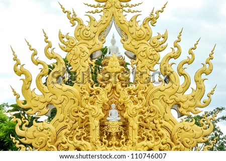 Golden sculpture the place for buddha statue of Wat Rong Khun, the temple at Chiangrai province in Thailand.