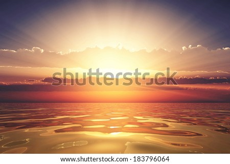 golden sea at sunset with clouds - stock photo