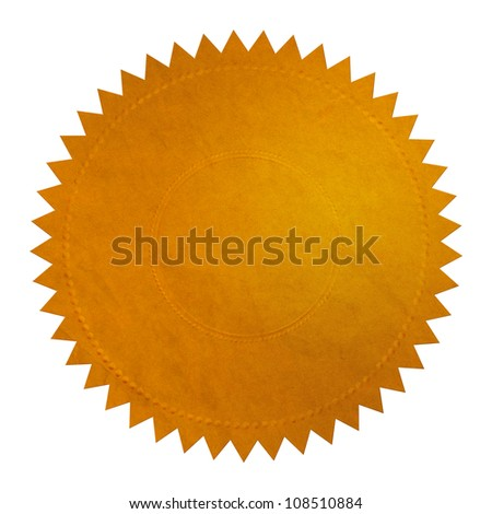 Golden Seal on white background with clipping path.