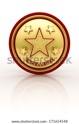 Golden seal with five stars for outstanding excellence - stock photo