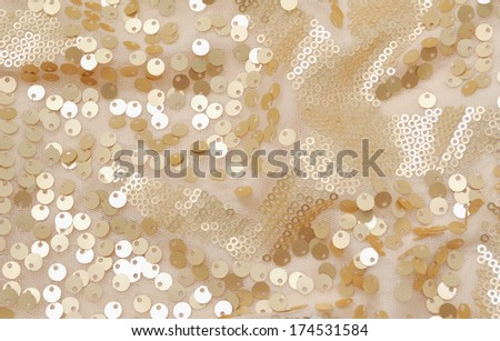 Golden sequins pattern texture fashion background  - stock photo