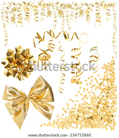 golden serpentine streamer, confetti, ribbon bow isolated on white background. carnival, party decoration. holidays design elements - stock photo