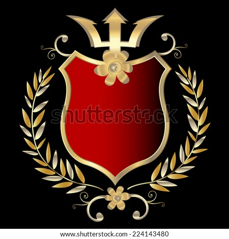 golden shield design; illustration  - stock photo