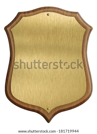 golden shield diploma in wooden frame isolated on white background