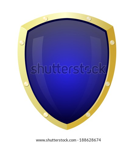 Golden shield with a blue background. Isolate - stock photo