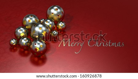 golden shimmering christmas balls on maroon background with copy space - stock photo