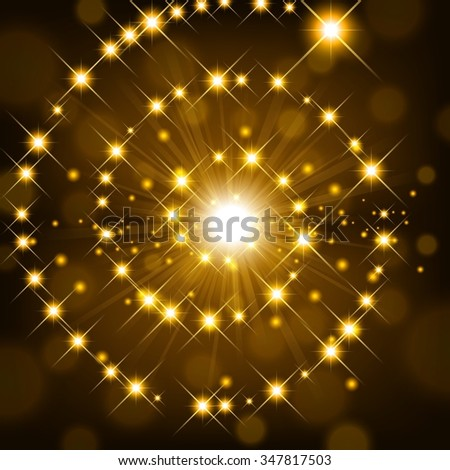 Golden shine with sparkle forming spiral background