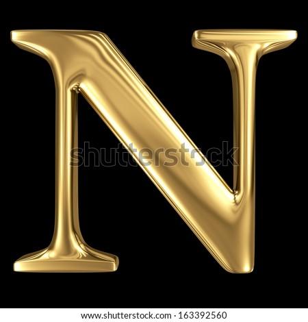 Golden shining metallic 3D symbol capital letter N - uppercase isolated on black - stock photo