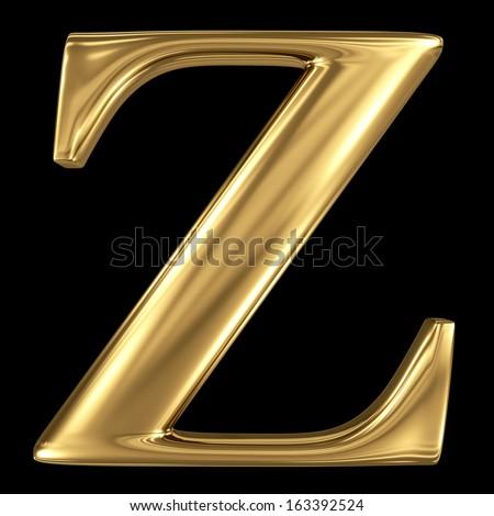 Golden shining metallic 3D symbol capital letter Z - uppercase isolated on black - stock photo