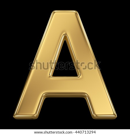 Golden shining metallic 3D symbol letter A - isolated on black