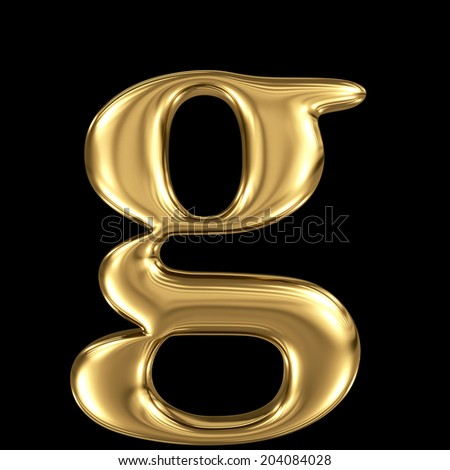 Golden shining metallic 3D symbol letter g - lowercase isolated on black - stock photo