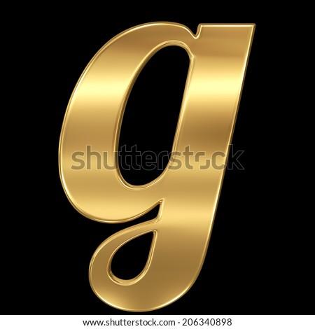 Golden shining metallic 3D symbol letter g - lowercase isolated on black. - stock photo