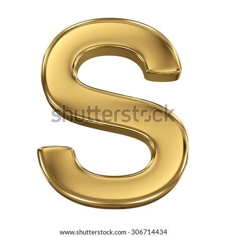 Golden shining metallic 3D symbol letter S - isolated on white - stock photo