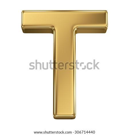 Golden shining metallic 3D symbol letter T - isolated on white - stock photo
