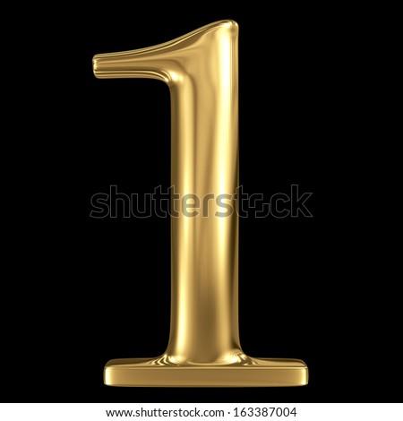 Golden shining metallic 3D symbol number one 1 isolated on black - stock photo