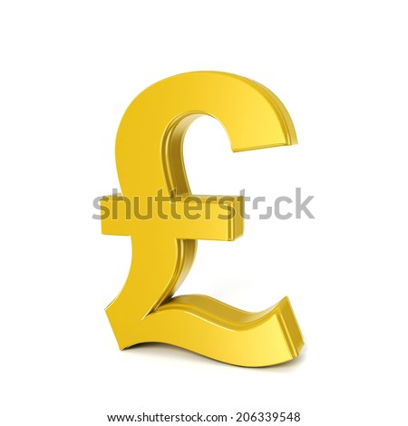 golden shinny pound symbol isolated on white - stock photo