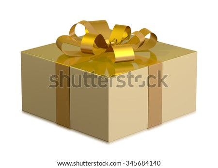 Golden shiny gift box with golden bow isolated on white background