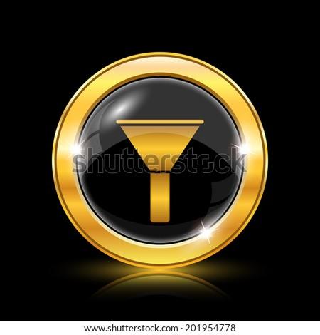 Golden shiny glossy icon on black background - stock photo