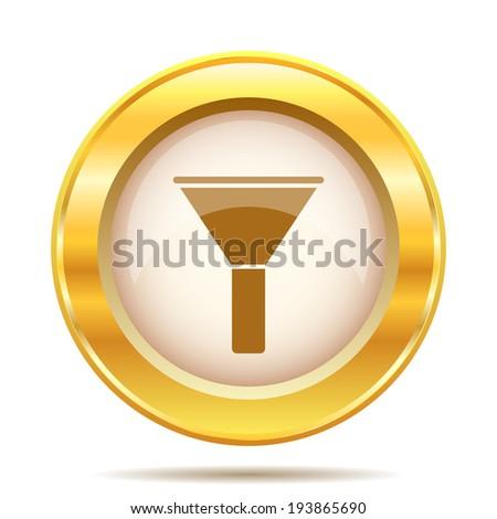 Golden shiny glossy icon on white background - stock photo