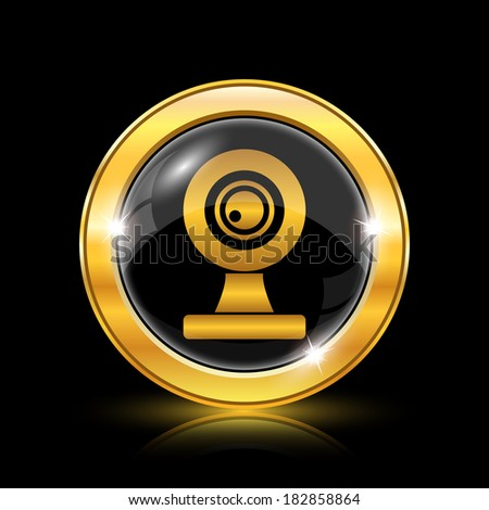 Golden shiny icon on black background - internet button - stock photo