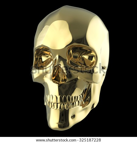 golden shiny polished metal skull 3d render isolated on black background front-right view