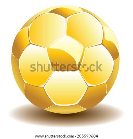 Golden shiny soccer ball illustration on white background. - stock photo