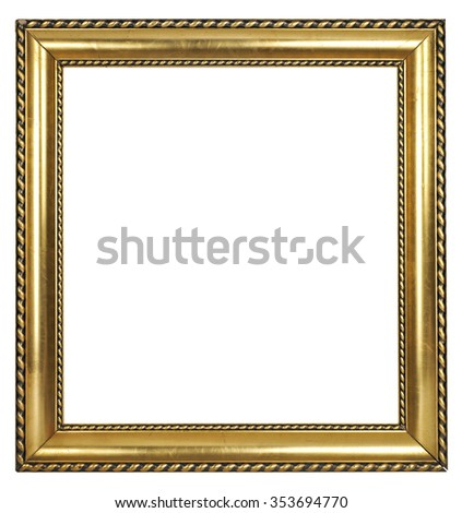 Golden shiny vintage picture frame with ornaments isolated on white - stock photo