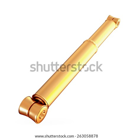 Golden shock absorber isolated on white background.  High resolution - stock photo