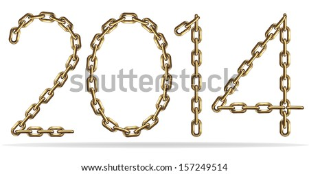 Golden 2014 sign, made with chains, isolated on white