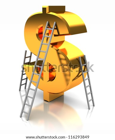 Golden sign of dollar with stairs, concept success