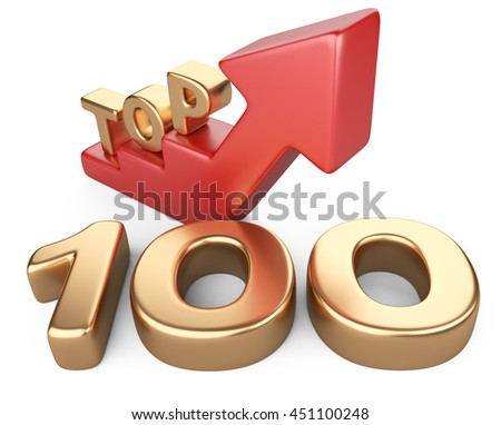Golden sign top 100 and a red ladder. 3D image isolated on white bacground.
