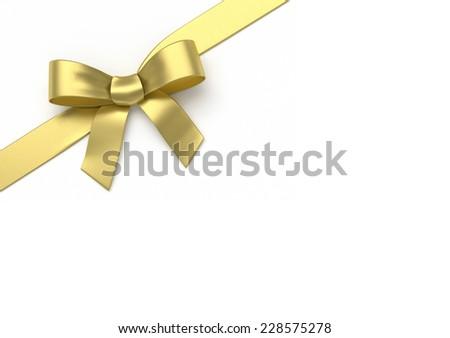 Golden silk bow - stock photo