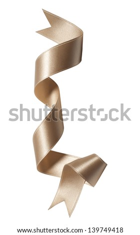 golden silk ribbon with bow isolated - stock photo