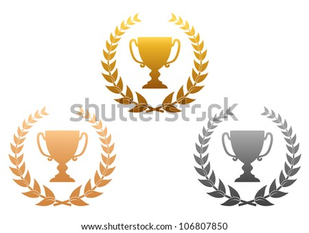 Golden, silver and bronze awards with laurel wreath for sports design, such logo. Vector version also available in gallery - stock photo
